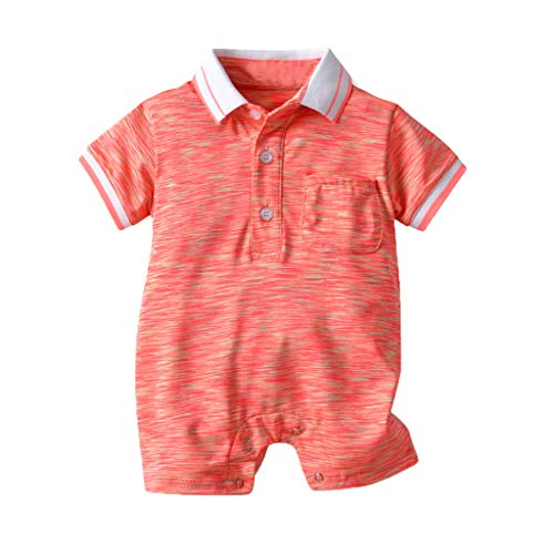 BUKINIE Newborn Baby Boy Romper Clothing Short Sleeve One Piece Body Combination Infant Polo Creeper(Rouge,3-6 Mois
