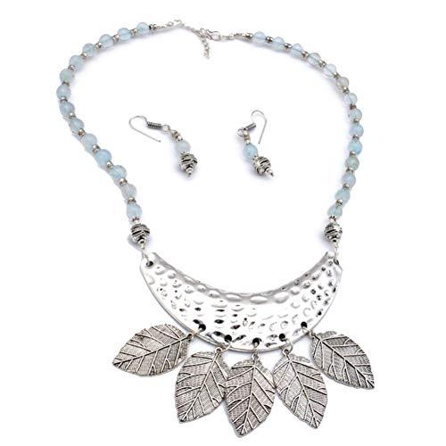 Conjunto de pendientes de collar de cuentas de plan azul 18 'de largo chapado en plata de ley joyería de arte hecha a mano tienda de variedad completa