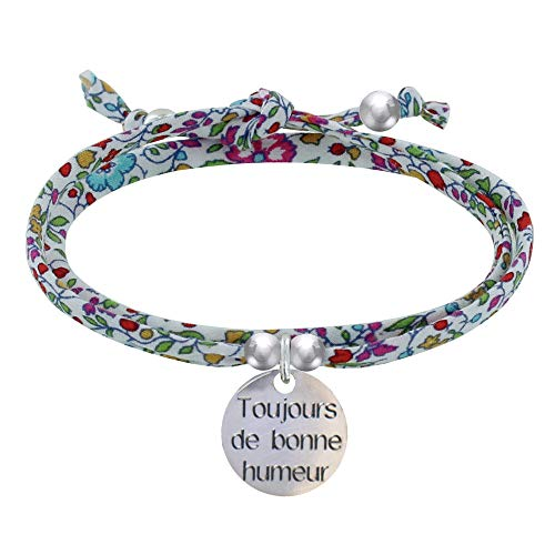 Schmuck Les Poulettes - Link Liberty Double Link Armband und Medaille Immer in Good Mood Silver - Multicolour