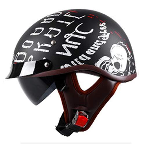 ABDOMINAL WHEEL Casco Half Motocicleta,Medio Casco Abierto con Visera Solar Doble,Certificación ECE Unisexo Material ABS,Cascos Unisex Adecuados para Montar en Bicicleta Machete Cruiser E,56~62CM