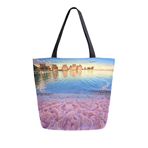 Reusable Grocery Shopping Bag Colored Sand Beaches Womens Canvas Tote Bags Foldable Shoulder Handbags