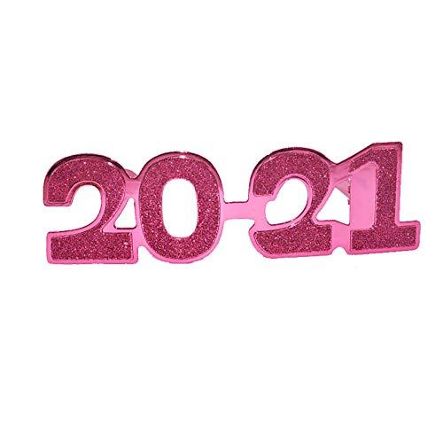 tianxiangjjeu 2021 Número De Diseño Gafas Gafas Festival Fiesta Decoración Suministro Photobooth Props Año Nuevo Favores De Fiesta Rosa roja