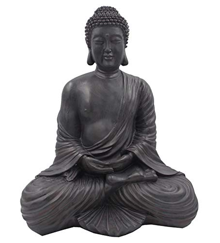 DharmaObjects Meditating Buddha Mindfulness Peace Harmony Statue (16 Inches, Dark Stone)