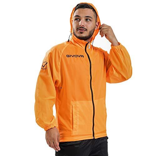 Givova K-Way Rain Blouson imperméable coupe-vent pour entraînement sport – RJ001 - Orange - M