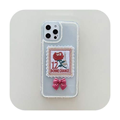 FightLY Linda caja del teléfono del bordado del arco 3D para el iPhone Xs Max 12 11 Pro X XR 7 8Plus SE20 Bowknot Rose Clear Soft Cover Flower Capa-Style 2-para iPhone XS
