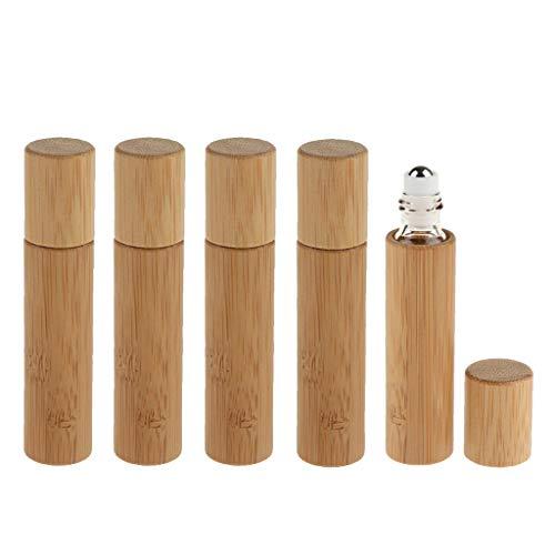 Amuzocity 5pcs 10ml Flacon Vide Bambou D'Huile Essentielle de Roller Ball Liquid Container