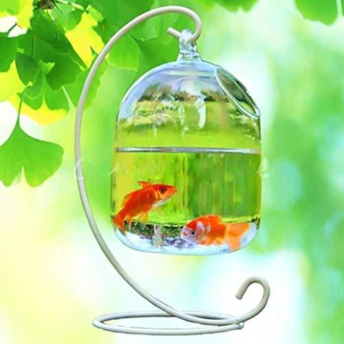 BYFRI Colgando Fish Tank Fish Creativo Florero De Cristal Transparente Goldfish Bowl para La Decoración Casera con Soporte ()
