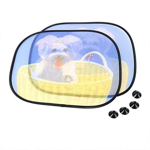 AWQC Parasol de Coche Pantalla de la Ventana Lateral 2pcs sombrillas con succión del Parabrisas del Coche Cortina Cubierta Parabrisas de la Cortina del Coche-Estilo Universal (Color : Cute Dog)