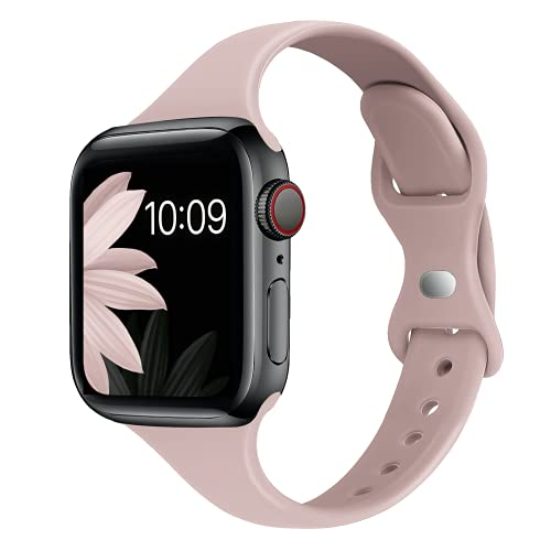 STG Sport Band Compatible with Apple Watch 38mm 40mm 42mm 44mm, Soft Silicone Slim Thin Narrow Replacement Strap Compatible for iWatch SE Series 6/5/4/3/2/1 (Pink Sand, 42/44mm)