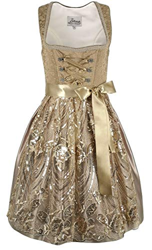 Iseaa Damen Dirndl Kleid Dirndlkleid Trachtenkleid Midi Julia braun mit Spitze 38