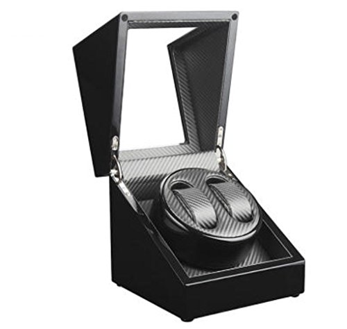 KY Uhrenbeweger Automatische Uhrenbeweger PU-Leder 5 Rotationsmodi Speicher Vitrine (Farbe : 2+0-Black+Silver)