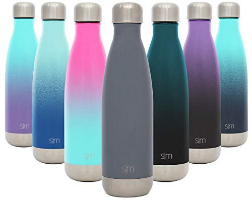 Simple Modern Wave 500ml Termo Botella de Agua Acero Inoxidable, Botella termica sin BPA Mantiene el Temperatura Aislada al Vacío Doble Pared para Deporte café o viaje -Gris Pizarra