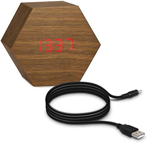 kwmobile Sveglia Digitale Design in Legno - Orologio da Tavolo con Display LED - Sveglia Piccola con Cavo USB e luci LED in Rosso - Marrone