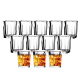 JOLLY CHEF Shot Glass Set with Heavy Base, 2 Ounce Tequila Shot Glasses, Clear Shot Glass ...