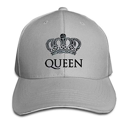 King & Queen Fashion Sandwich Baseball Cap Adjustable Curved Visor Hat Gray