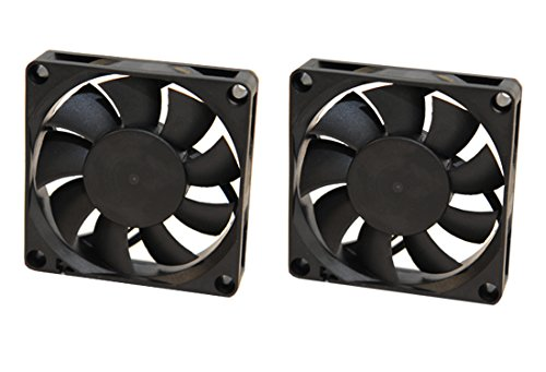 Rhombutech - Juego de 2 ventiladores silenciosos (60 x 60 x 15 mm, CC 12 V, 0,11 A, 2 conectores de alimentación de 2 pines (juego de 2 x 60/60/15)