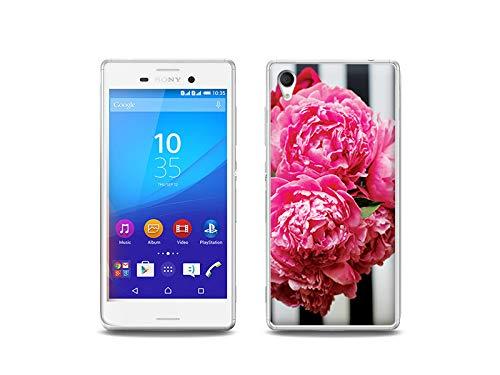 etuo Handyhülle für Sony Xperia M4 Aqua - Hülle, Silikon, Gummi Schutzhülle - Rosa Blumen