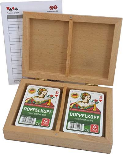 ludomax Doppelkopf Box, Holz Kassette mit Zwei Skat Kartenspielen