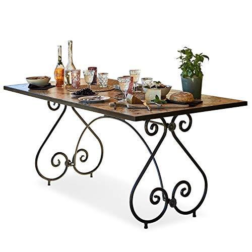 Loberon Tisch Grainville, Eisen/Tisch Keramik, Furnierschichtholz, H/B/T ca. 79/92,5/183 cm, braun