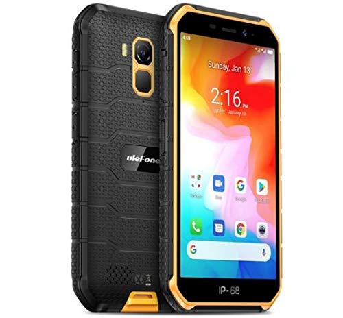 4G頑丈な携帯電話(2020)、Ulefone Armor X7 Android 10屋外スマートフォンIP68、4000mAhバッテリー、防水水中写真、MT6761クアッドコア2GB + 16GB、DUAL SIM/GPS/NFC、顔認証 (オレンジ 橙)