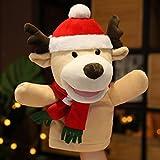 Marionetas de mano de Navidad, Papá Noel Elk muñeco de nieve de peluche, Marioneta de peluche suave para narrar, enseñar, preescolar, juego de rol (alce)