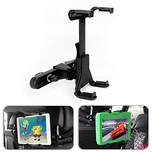 Car Dvd Holder, POMILE Car Headrest Mount 360°Adjustable Car Seat Headrest Mount Holder for Portable DVD Player,7-12 Inch iPad Pro/Pad Air/iPad Mini,Tablets,Samsung Galaxy Tab, 7-12 Inch (Update)