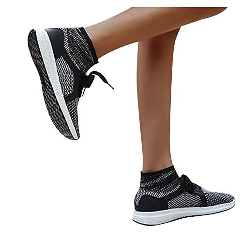 FeelFree+ Zapatillas Deportivas Casuales Mujer Zapatos de Malla con Aumento Color Sólido de Suela Gruesa Correr con Cuñas Transpirables Ligeras Sneakers Respirable Running Zapatillas de Deporte moda