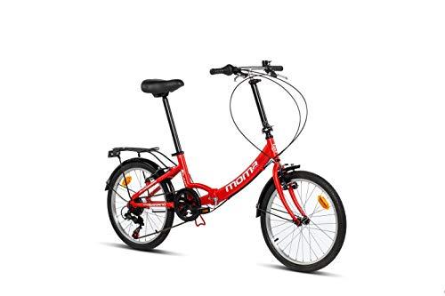 """Moma Bikes II Red, Bicicletta di Città Pieghevole, First Class 20"""", Alluminio Shimano 6v, Sella Confort. Unisex –..."""