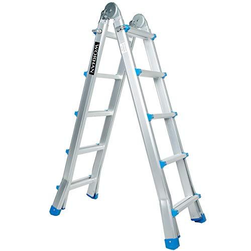 WORHAN® Escalera 530cm Aluminio Telescopica 5.3m Multifuncion Multiuso Aluminio Plegable Tijera L5