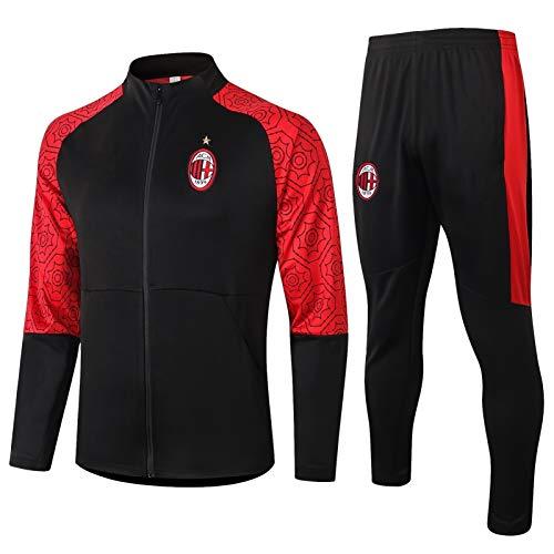TOPNIU Jersey de Manga Larga Jersey Traje de Entrenamiento de fútbol AC Milán Adulto Sportswear Traje Fútbol Oficial Chaqueta y Pantalones (Size : XL)