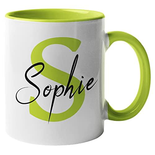 Namenstasse personalisiert mit Initial Tasse mit Name und Anfangsbuchstabe beidseitig bedruckt (Henkel & Innen Apfelgrün)