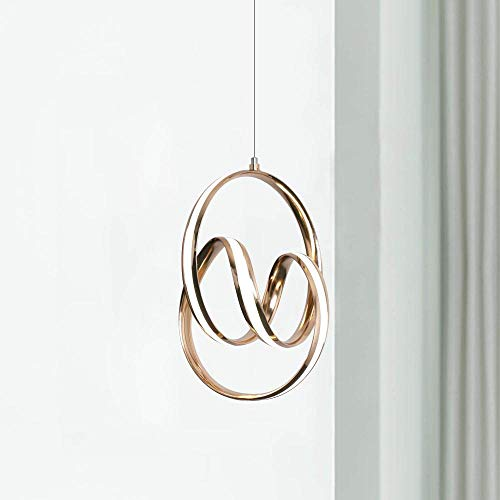 Gouden LED Kroonluchter Hanger Moderne Hedendaagse Plafond Hanglamp Bevestiging 31 cm Breed 41,5 cm Hoog Warm Wit 3000K