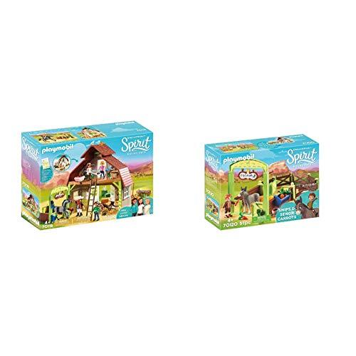 PLAYMOBIL DreamWorks Spirit 70118 Pferdestall mit Lucky, PRU & Abigail, Ab 4 Jahren & 70120 Spirit - Riding Free Pferdebox Snips & Herr Karotte, bunt