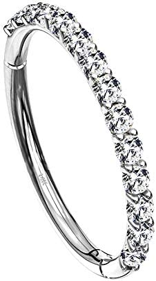 OUFER Helix Earring Hoops 14K Solid White Gold Gold Orbital Conch Tragus Piercing Hoop Clear product image