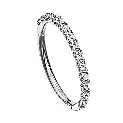 OUFER Helix Earring Hoops 14K Solid White Gold/Gold Orbital Conch Tragus Piercing Hoop Clear CZ Paved Hinged Clicker Segment Ring 16G Cartilage Earrings