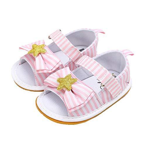 Zapatos de Pasos Bebe Niña Niño, Morbuy Tela de algodón Estrellas Clásicas Sandalias Recién Nacido Cuna Suela Blanda Antideslizante Zapatos Primeros Pasos (2 / 12cm / 6-12 Meses,Rosa)