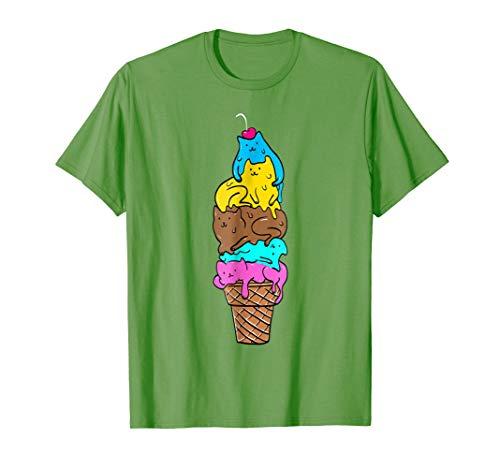 Cute Cat Ice Cream T-Shirt - Kitty Cat Dessert Shirt