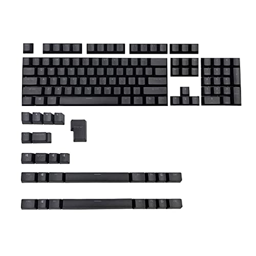 gulang-keng 131 llaves PBT Douhle Shot Shine Through Keycap con barra espaciadora de 6.5U, negro blanco para Corsair STRAFE K65 K70 logitech, regalo de bricolaje para amantes del juego