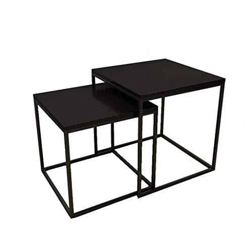 Équipement de vie Table basse gigognes noire Ensemble de 2 tables Combinaison de tables d'appoint multifonctions créatives évolutives pour canapé Table de chevet pour ordinateur portable Snack Tabl
