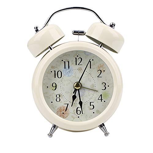 Tasquite Reloj despertador con doble campana, funciona con pilas, clásico, retro, sin tictac, luz nocturna para dormitorio