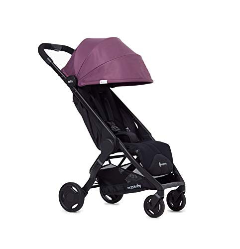 Ergobaby Metro Lightweight Buggy Stroller Pushchair with Reclining Function Model 2020, 6 Months up to 22 kg Toddler (Plum) Ergobaby A stroller that knows no limits. The Ergobaby Metro City Baby Stroller is lightweight, ultra-compact, and can easily fit into a small car boot and in most aircraft overhead bins. An ideal baby and infant travel system. NEW - high-quality wheel bearings for a pleasant ride and reinforced load-bearing capacity of up to 22 kg. More robust sun-shade canopy, padded handle, strap, parking brake, large storage basket for bags and shopping. Baby comfort without compromises – adjustable leg rest, very flat reclining surface, 25 mm multi-zone padding for a highly comfortable seat, which can rarely be found in compact sports strollers. 1