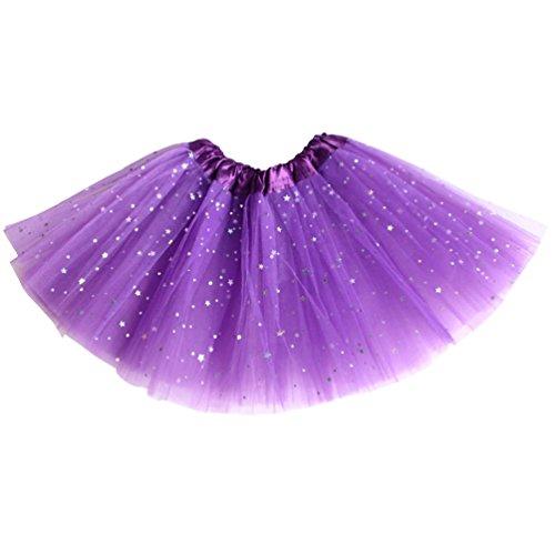 Csbks Girls Sparkle Layered Tulle Tutu Skirt Princess Ballet Dance Mini Tutus Dark Purple