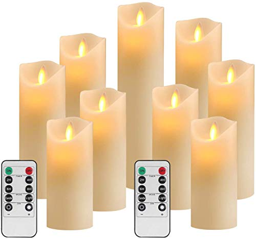 RY King Set of 9 Pillar Real Wax Flameless LED Battery Operated Electric Flickering Candles with Remote Control Timer for Wedding Birthday Christmas Decorations