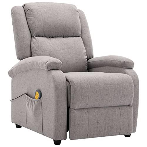 vidaXL Fauteuil Electrique de Massage Chaise Inclinable Fauteuil Inclinable Bureau Salon Salle de Séjour Chambre à Coucher Maison Intérieur Gris Clair Tissu