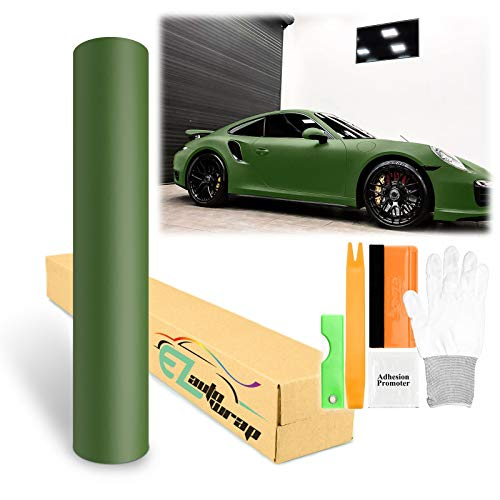 Free Tool Kit Matte Flat Army Green Car Vinyl Wrap Sticker Decal Film Sheet with Air Release - 60'X60' (5FT X 5FT)