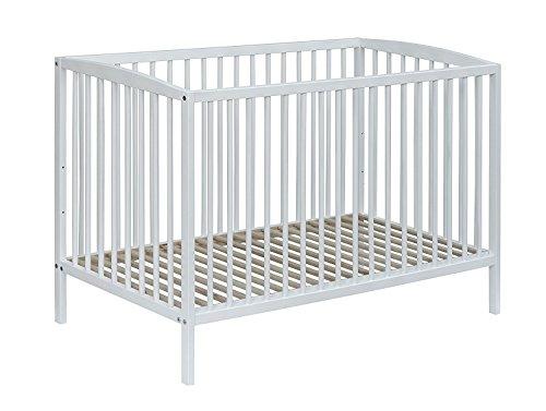 Best For Kids gittersäng One justerbar i vit bebissäng 60 x 120 cm med lackrost (vit med 10 cm madrass)