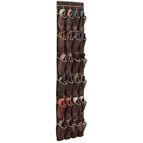 Estantes colgantes utilizados para almacenar zapatos, organizador de zapatos con 24 bolsillos para colgar en la puerta (color: caqui oscuro)