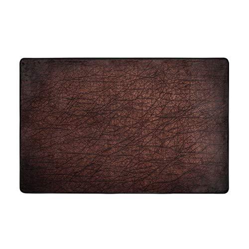 Oforp Badematte Teppich,dunkelbrauner Leder Hintergrund,Textur Bad Teppich 75cmx45cm