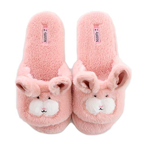 Women's Cute Bunny Bedroom Slippers Open Toe Slippers Rabbit Slippers Indoor Slides House Slippers(7-8 M US, Pink)