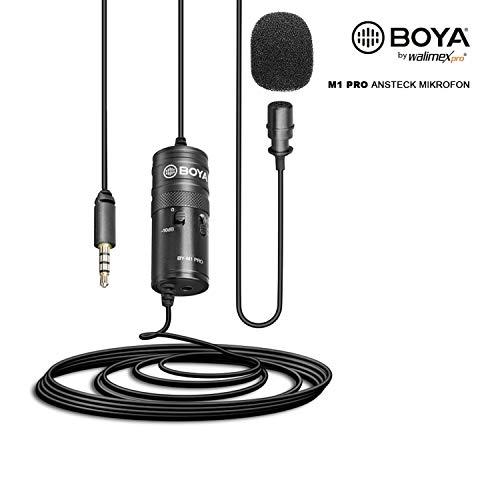 Walimex pro Boya M1 Pro Lavaliermikrofon – kleines, leistungsstarkes Ansteck Mikrofon, Kugelcharakteristik, Pegelschalter -10 dB, universal für Kamera Smartphone Audiorecorder Tablet und PC
